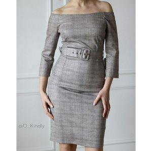 Zara plaid checked bodycon shift seath midi dress